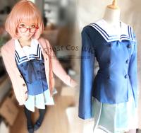 New Beyond the Boundary Mirai Kuriyama Cosplay Uniform Women Costume Custom Made!