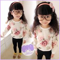 Baby 2014 spring female child organza ink print o-neck top fashion  design girl hoodies retail