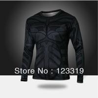 Hot Sale Marvel t Shirt 2014 New Fashion Batman Heroes Shirt Mens Clothing Sport Jersey Breathable Long Sleeve Shirt Drop Ship