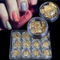 Gold Foil Nail Art Stickers,12pcs/lot UV Gel Nail Tips Decorations Accessories,Glitter Stylish Nail Beauty Accessories Tools