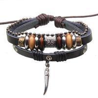 BA147 Wholesale Handmade Genuine Leather Adjustable Bracelet Jewelry Bijouterie Wristband Surf Unisex Men Woman
