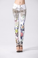 hot new winter denim trousers female European and American printing significantly thin feet pencil pants