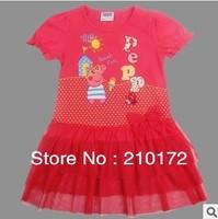The new summer 2014  peppa pig  children's wear short-sleeved dress LU5 of the girls