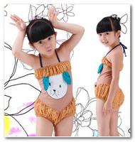 New children's swimsuit girls cute puppy dot Siamese swimwear bath suit spa beachwear 3-7T in stock 7008