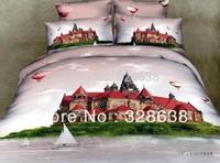 Sailboat castle hot-air balloon Luxury 4pc bedding set 3d Bedclothes bed linen bedsheet cotton Duvet/Quilt cover pillowcase sets
