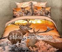 2014 shocked the market 5 styles brand 3D Milu Deer/Elk/Moose bedding comforter sets scenic bedspread bed set high quality