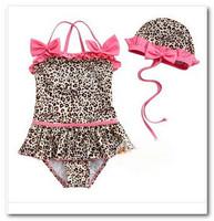 Girls pink leopard swimsuits baby bikini swimwear Bowknot Swim Cap+ girls swimsuit 2pcs sets swim pool swimsuits 7004