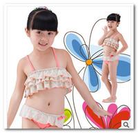 2014 New girls pink floral bikini 3pc swimsuit Kids split swimsuit bath suit spa beachwear children swimwear 3-7T 7009