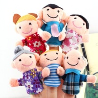 6pcs/lot Family cartoon grandparent dad mom designs Finger hand Puppet Baby Plush Toys
