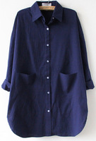 2014 Spring New Style Fashion Women Casual Navy Long Sleeve Pocket Lapel Loose Blouse