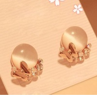 Free shipping more than $15+gift transparent elegant fashion elegant diamond earring crystal pink champagne sweet jewelry bow