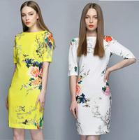 Spring Summer New 2014 Women European Style Dresses Runway Design Knee Length Floral Print Slim Dress Ladies Dress