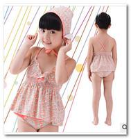 2014 new korean children spa beachwear swimsuit girls floral 3pc split swimwear 3-7T kids swimsuit in stock 7019