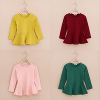 Baby girls pure color Waist Frill long sleeve tops kids outwear