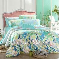 Elegant printed 4pcs bedding set Luxury bedclothes girls King Queen size duvet quilt cover bed sheets Tencel bed sheet sets