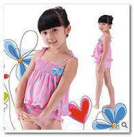 2014 korean new children swimwear girls Polka Dot split swimwear 3pcs sets kids bath suit spa beachwear in stock 7013