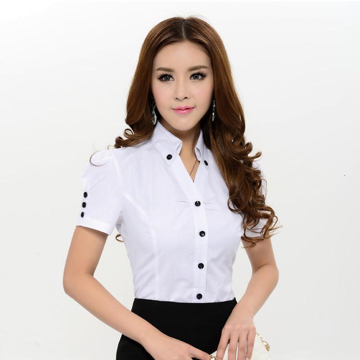 White Short Sleeve Work Blouse 83