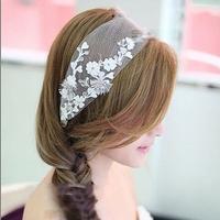 New 2014 Bridal Rhinestone Beaded Flower Lace Headbands Wedding Hair Accessories Ornament Jewelry Headpiece For Bride WIGO0244