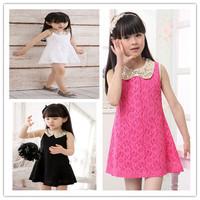 Lovely Girls dress Summer 2013 Children's Baby Kids Sequins Collar flower Sleeveless Vest Lace Princess Dress Black White rose