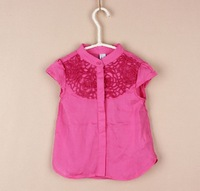 Baby girls kids pure color blouse flower hollow shot sleeve tops summer outwear