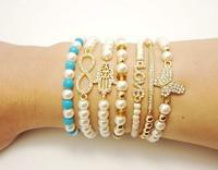 free shipping infinite love bracelets fashion charm stretch stacking crystal bracelet women jewelry