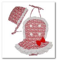 Hot sell baby girl swimwear cute Bowknot lace floral summer swimsuits children 2 pc sets Siamese swimwear spa beachwear 7017