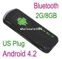 US Plug Mini PC Android 4.2 Google TV stick Box Quad Core RK3188 2G/8GB Bluetooth HD1080P Wifi UG007B Free Shipping