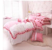 Korean princess beding new arrival 4pcs bedspread purple/pink/orange bed skirt hot sale quilt cover/bed set