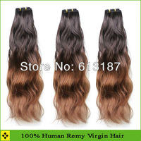 Fashion Pretty 3pcs 100% Brazilian Human Hair Dip-dye Colored Hair Free Shipping