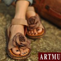 Artmu women 100% genuine leather handmade sandals women novelty flower flat sandals A299