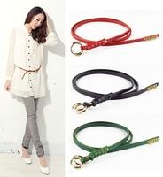 100% Genuine Leather Women Fashion Candy Color Skirt Thin Belt Ladies' skinny Strap Woman Belts Cintos Female Ceinture  WBT0040
