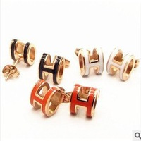 New Titanium Steel 18K rose gold letter fine earings Factory Wholesale- free shipping