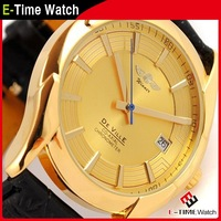 Business Men Mechanical Hand Wind Watches Leather Strap Wristwatch Golden Watch High Quality Military Watches MN4489