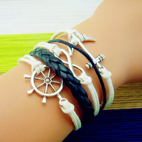 3pcs/lot,Fashion Vintage Anchors Rudder  leather bracelet Multilayer bracelet for women 2014 new Free shipping