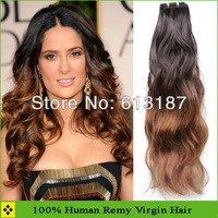 Fashion Pretty Auburn Ombre Brazilian Hair 100% Human Hair Machine Weft 3pcs Free Shipping