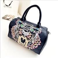New arrival women handbag embroidery tiger head bags bucket bag