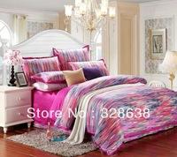2014 shocked the market princess rainbow reactive printing patchwork bedding comforter sets king bedsheet/bedclothes/bed linen