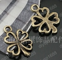 200pcs/lot Zinc alloy bead Antique Bronze Plated four leaf clovers Shape Charms Pendants Fit Jewelry Making DIY 14*13MM JTA1179
