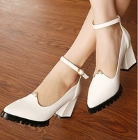 Free Shipping Women Spring Oxfords Shoes Charming Ankle Strap Buckle Metal Edge Shoes High Heels Shoes