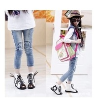 Free shipping 2014 spring female child flash doll skinny jeans pants