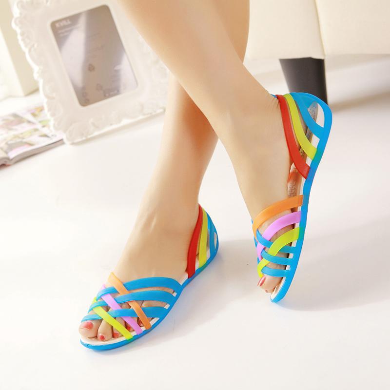 2014 Hole Shoes Women'S Colorful Open Toe Sandals Female Summer Sandals Flat Low Platform Sandals XG5-01(China (Mainland))