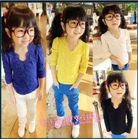 2013 autumn female child V-neck embroidered lace long-sleeve T-shirt