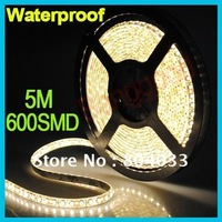 Flex LED Strip Light Lamp DC 12V 5M 3528 600 SMD Warm White Car Waterproof Flexible, Free Shipping