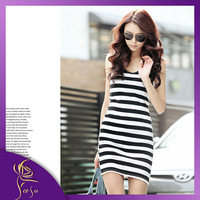 2014 Y Word Black White Striped Vest Dress,  Modal Long Section Rendering Package Hip Dress, Hot Sale Joker Skirt Wholesale
