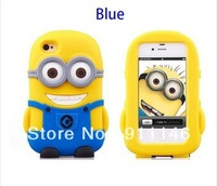 hot sale 5 color cartoon god steal dads soft rubber Despicable Me minions case for iphone4/4s phone shell Free dropshipping