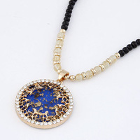 New Designer Beads Jewelry Big Round Gem necklaces & pendants with Rhinestone Chunky Statement necklace Bijouterie for Women