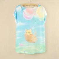 [Magic] New 2015 summer fashion Tshirt women plus size short sleeve women's  Lovely cat printing Casual t shirt Women Tops Tees
