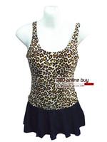 Womens Quality Sexy Leopard Swimwear One Piece Swim Suit With Ruffles Falbala A Line Skirt Modest Swimsuit 2014 Newest For Women