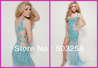 BCD7 Sweetheart Lace See Through V Back Beach Prom Evening Dress Women Backless