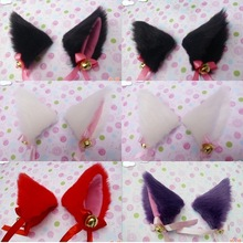 New Cosplay Party Anime Costume Cat Fox Ears Long Fur Hair Clip Pair # 48328(China (Mainland))